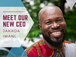 Jakada Imani smiling next to text that reads Meet Our New CEO.