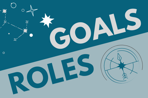 """text that reads """"goals"""" and """"roles"""" next to a compass and stars"""