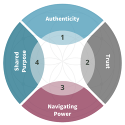 A circular chart with soft maroon and blue colors describing the four elements of relationship-building: authenticity, trust, navigating power, and shared purpose.